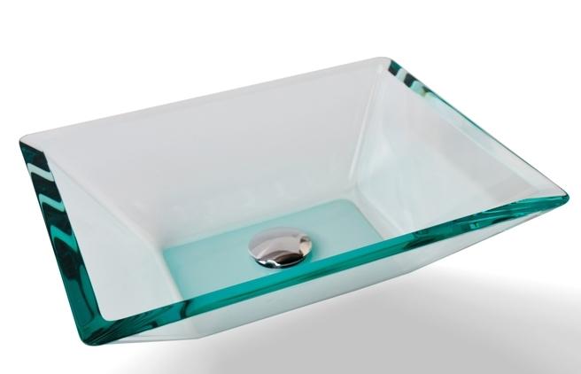 Cuba de Vidro Prisma de apoio 43,5 x 35 cm Branco Bergan