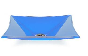 Cuba de Vidro Bergan Sulle retangular Azul Claro 41 x 31,5