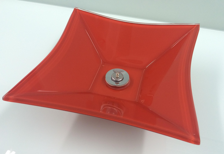 Cuba de vidro Sulle 34x34cm Vidro Esmaltado vermelho Bergan