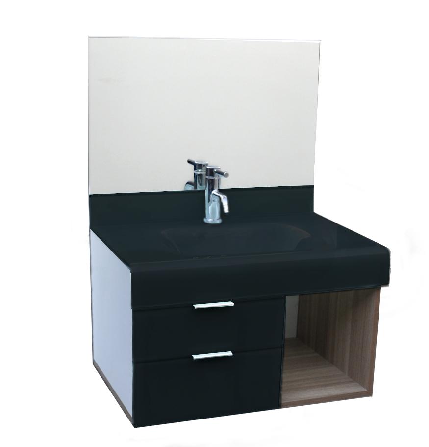 Pia p/ banheiro Lavatório de Vidro - Stetiun 80x46 cm Preto