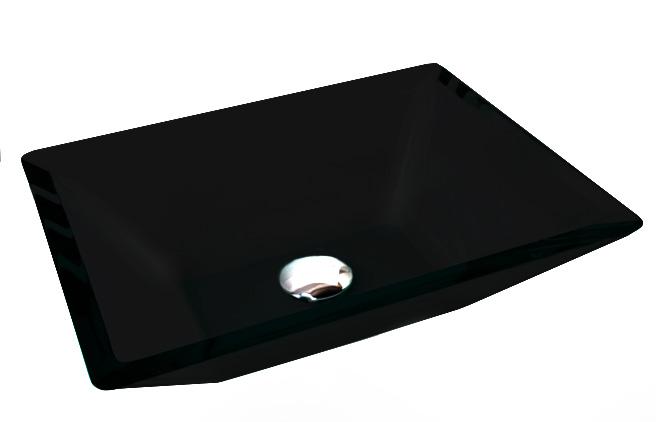 Cuba de Vidro Prisma de apoio 43,5 x 35 cm Preto Bergan