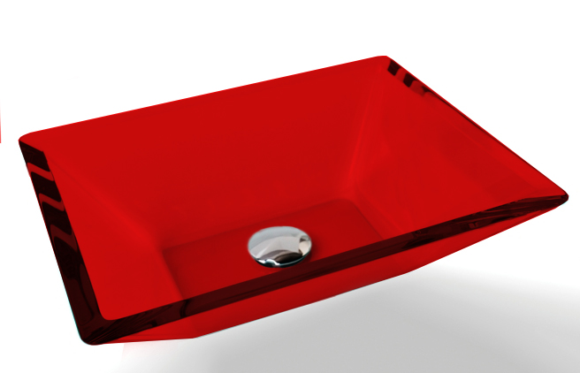 Cuba de Vidro Prisma de apoio 43,5 x 35 cm Vermelho Bergan