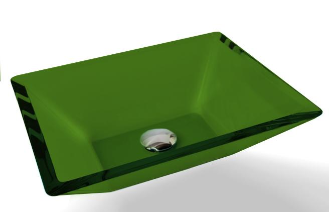 Cuba de Vidro Prisma de apoio 43,5 x 35 cm Verde Bergan