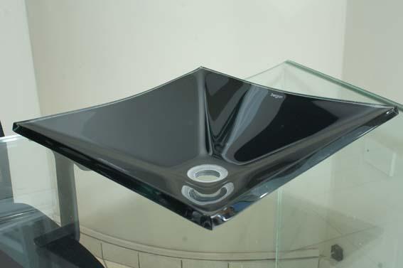 Cuba de vidro Grand Sulle 40x40 Cm - Vidro Esmaltado preto