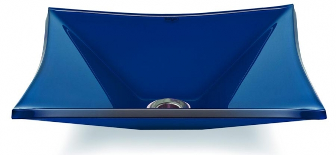 Cuba de vidro Grand Sulle 40x40 Cm Vidro azul escuro Bergan