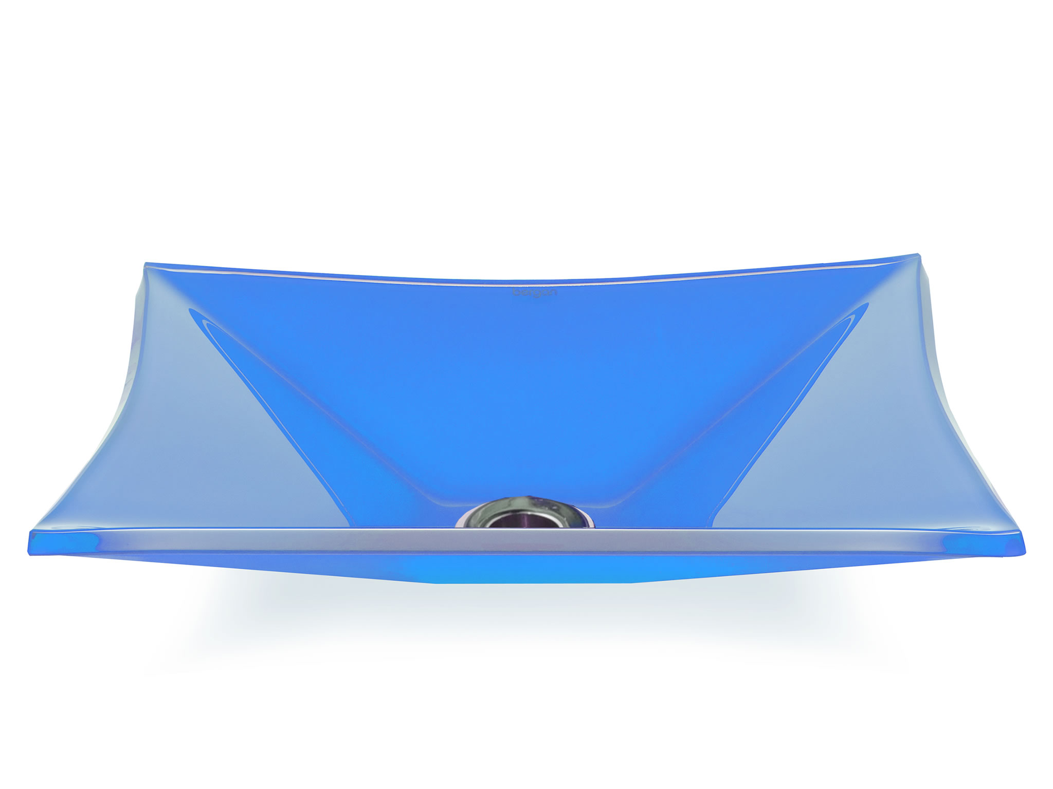 Cuba de vidro Grand Sulle 40x40 Cm Vidro azul claro Bergan
