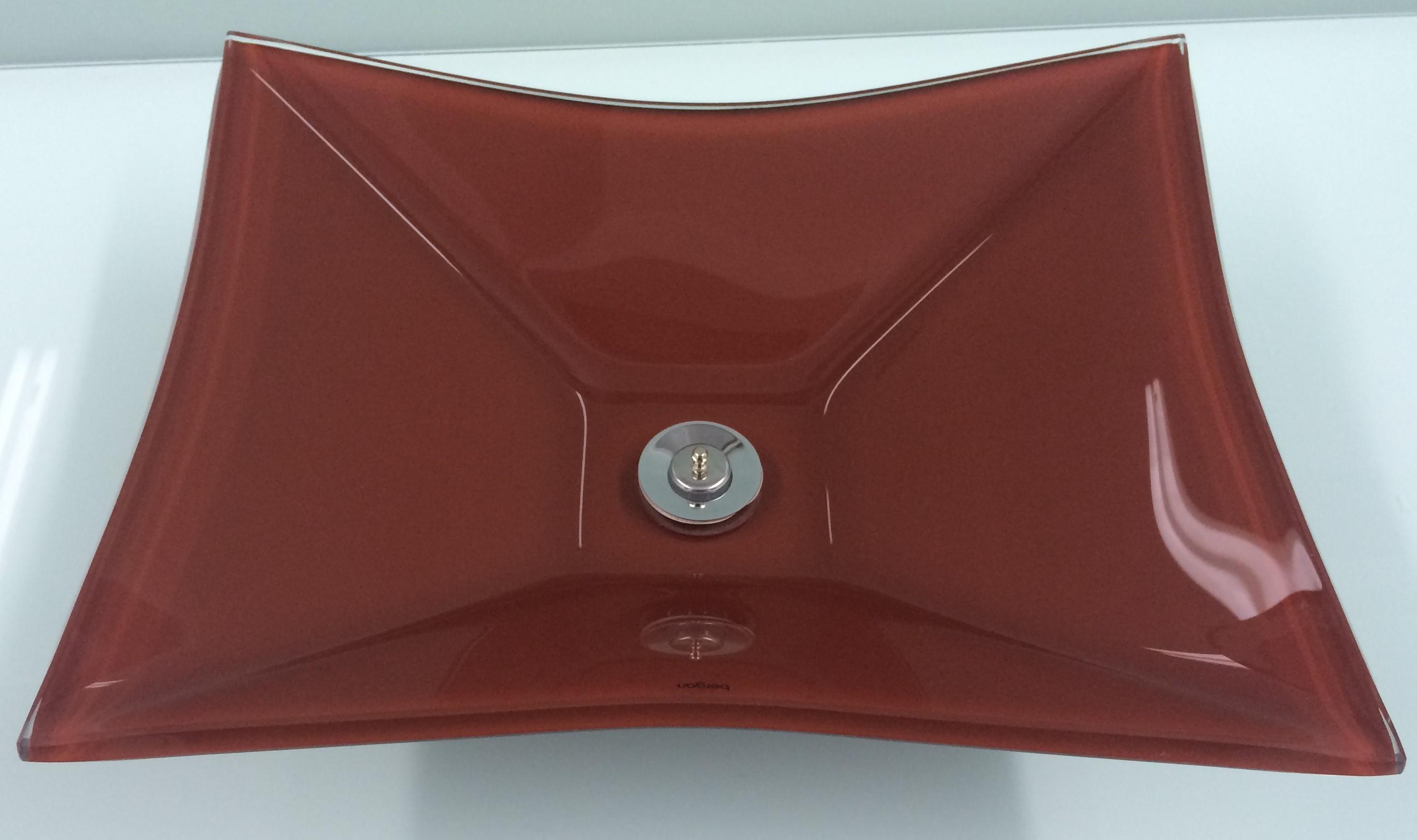 Cuba de vidro Grand Sulle 40x40 Cm - Vidro Esmaltado bordo