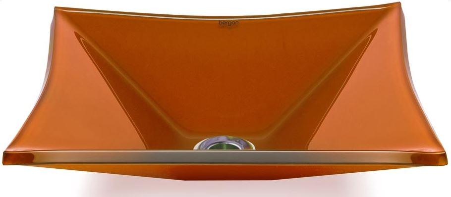 Cuba de vidro Grand Sulle 40x40 Cm - Vidro Esmaltado laranja