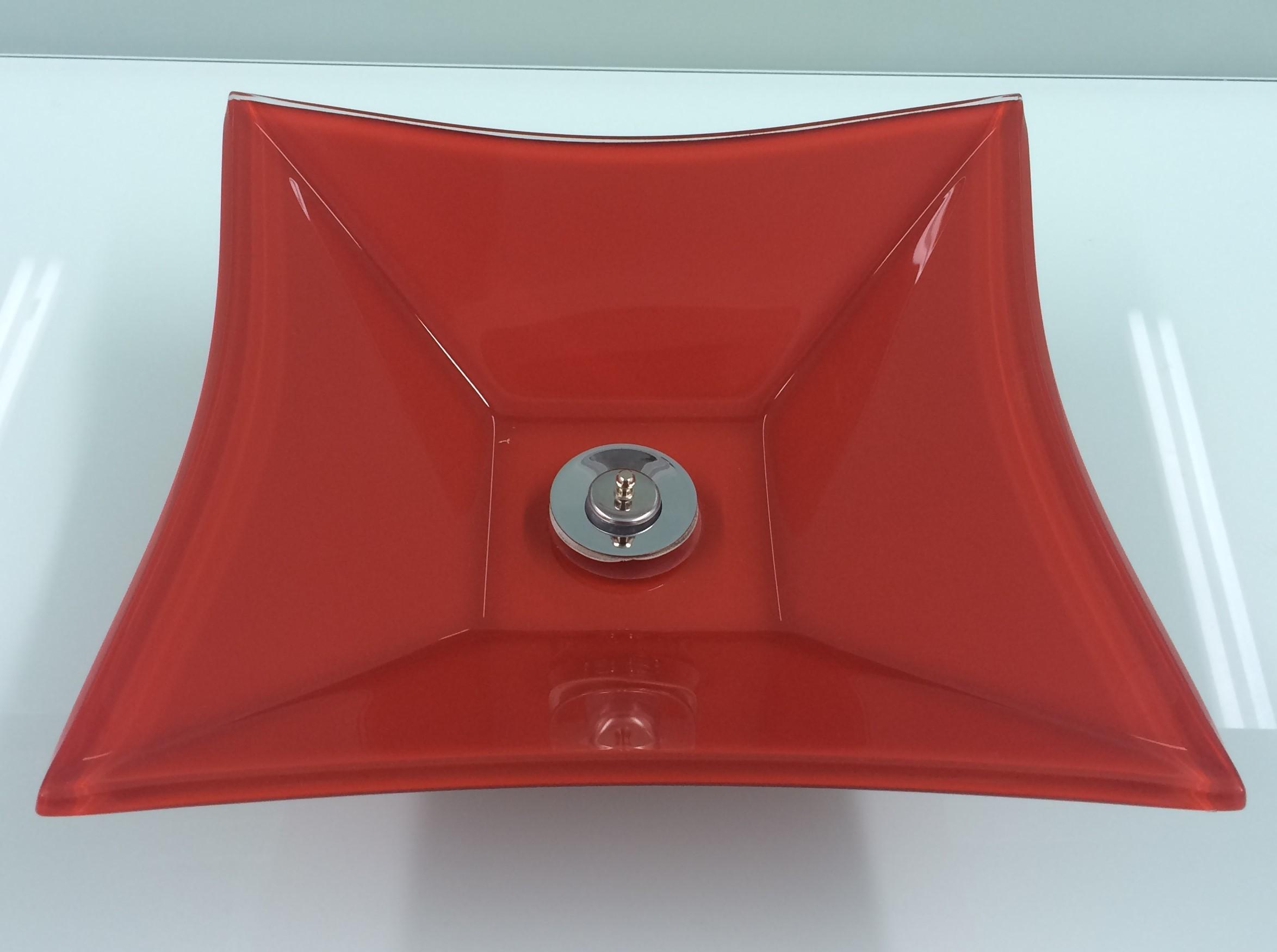 Cuba de vidro Grand Sulle 40x40 Cm Vidro Esmaltado vermelho