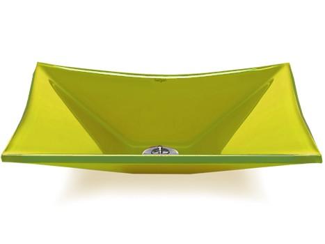 Cuba de vidro Grand Sulle 40x40 Cm - Vidro Esmaltado amarelo
