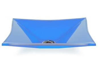 Cuba de vidro Grand Sulle 47 x 36 Cm Vidro azul claro Bergan