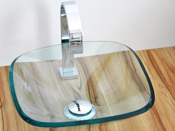 Cuba de Vidro Quadrada 35 x 35 cm Incolor Craquelado Bergan