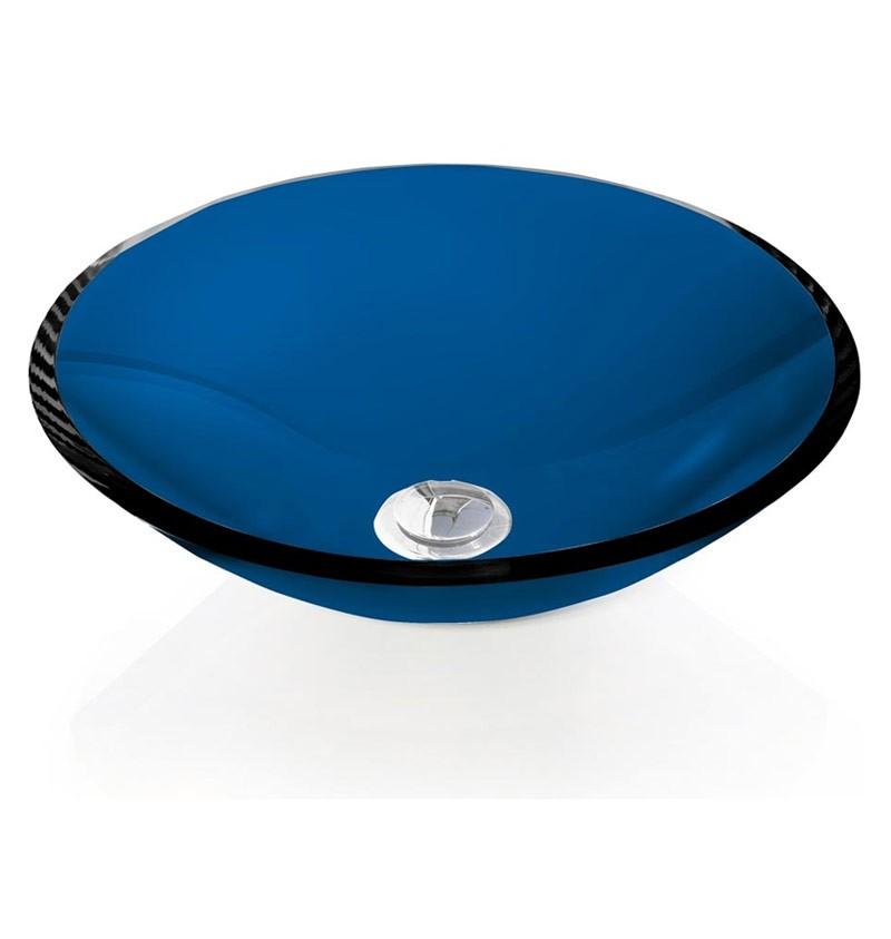 Cuba de Vidro redonda - 10mm Sem Aba 30 x 30 cm Azul Escuro