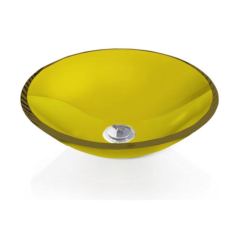 Cuba de Vidro redonda 10mm Sem Aba 30 x 30 cm Amarelo Bergan