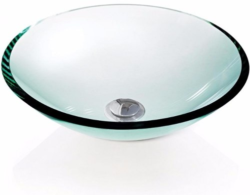 Cuba de Vidro redonda 10mm Sem Aba 30 x 30 cm Branco Bergan