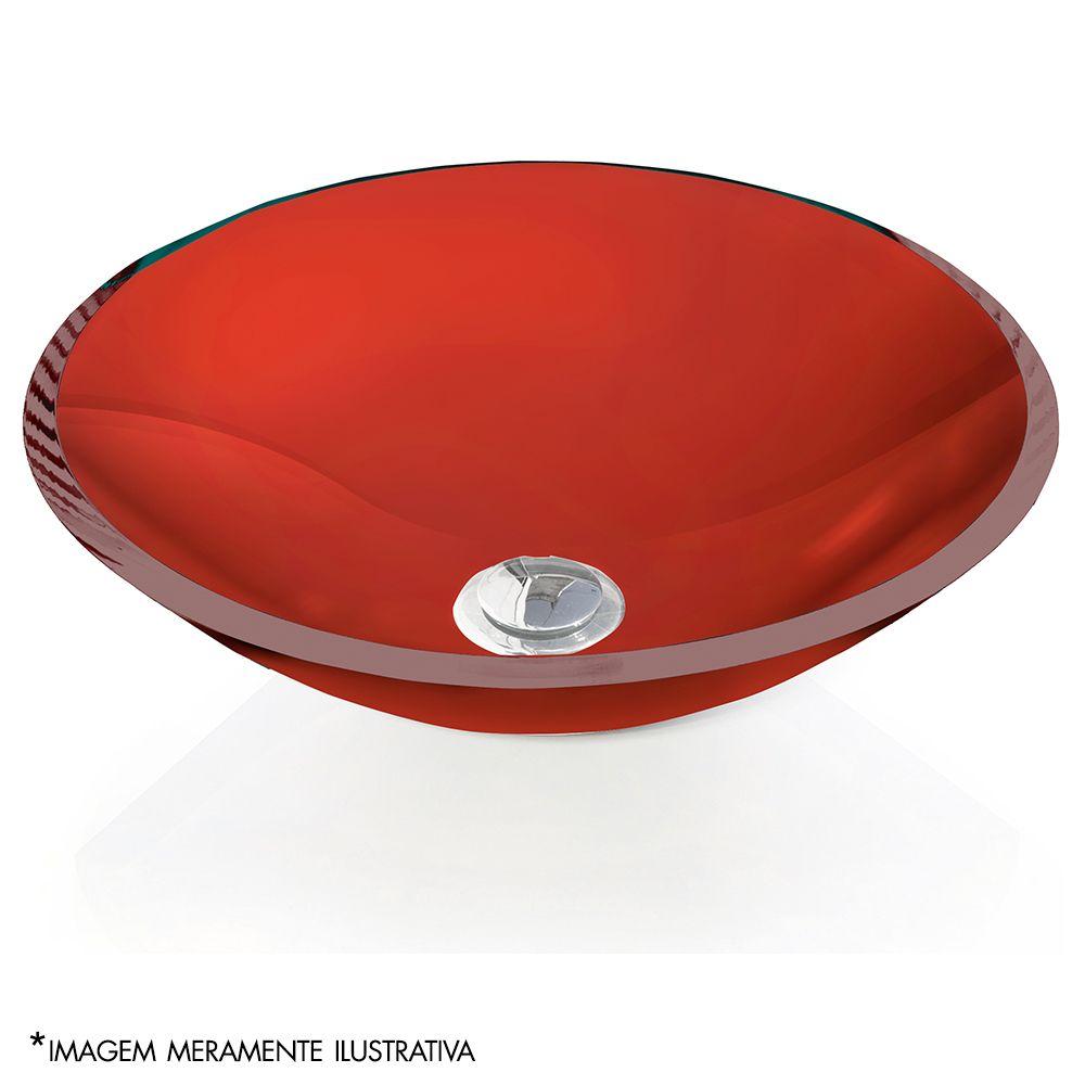 Cuba de Vidro redonda 10mm S/ Aba 35 x 35 cm Vermelho Bergan