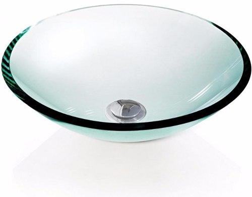 Cuba de Vidro redonda 10mm Sem Aba 35 x 35 cm Branco Bergan