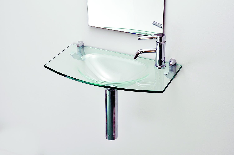 Lavatório de Vidro Pia Clare Modelado 60x32cm vidro Incolor