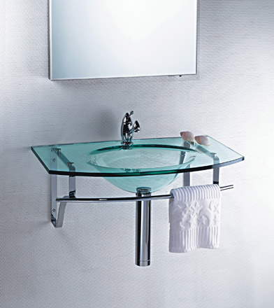 Lavatório de Vidro Pia Clean 60 x 38 cm vidro Incolor Bergan