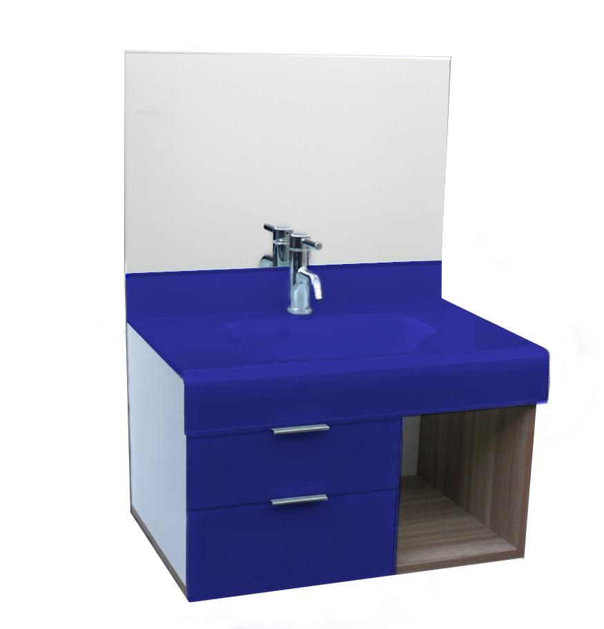pia p/ banheiro Lavatório de Vidro Stetiun 80x46 Azul Escuro