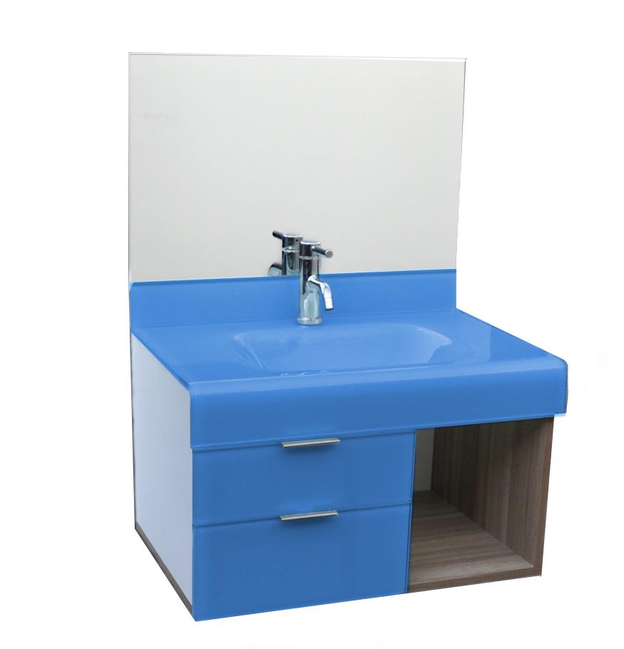 pia p/ banheiro Lavatório de Vidro Stetiun 80x46 Azul Claro