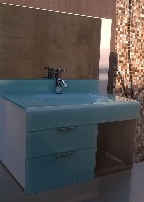 pia p/ banheiro Lavatório em Vidro - Stetiun 80x46 cm Branco