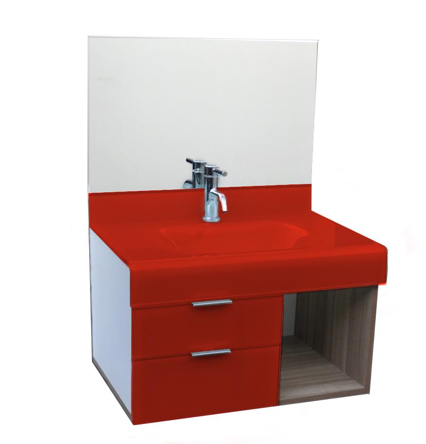 pia p/ banheiro Lavatório de Vidro Stetiun 60 x 46 Vermelho