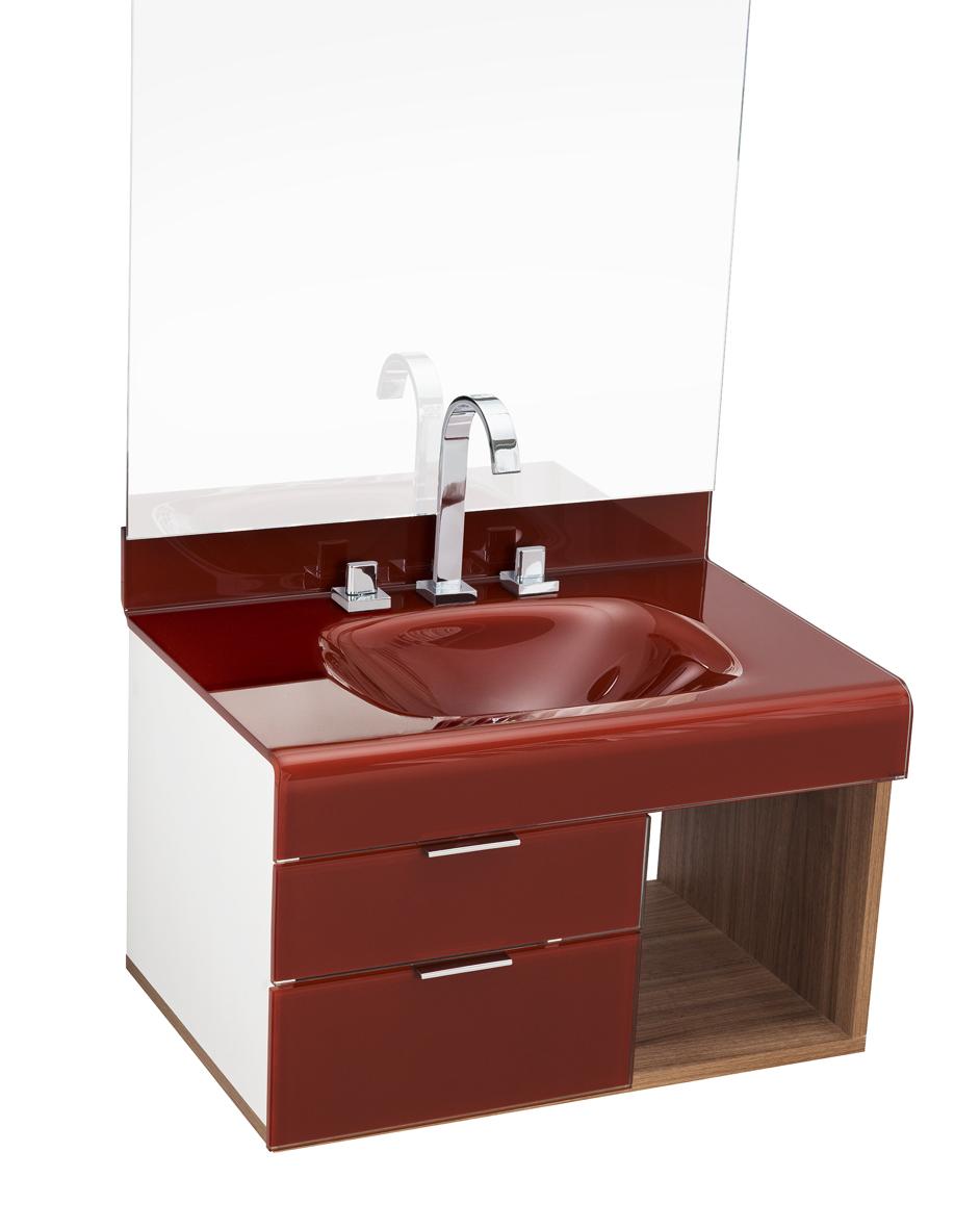 pia p/ banheiro Lavatório de Vidro Stetiun 60 x 46 cm Bordo