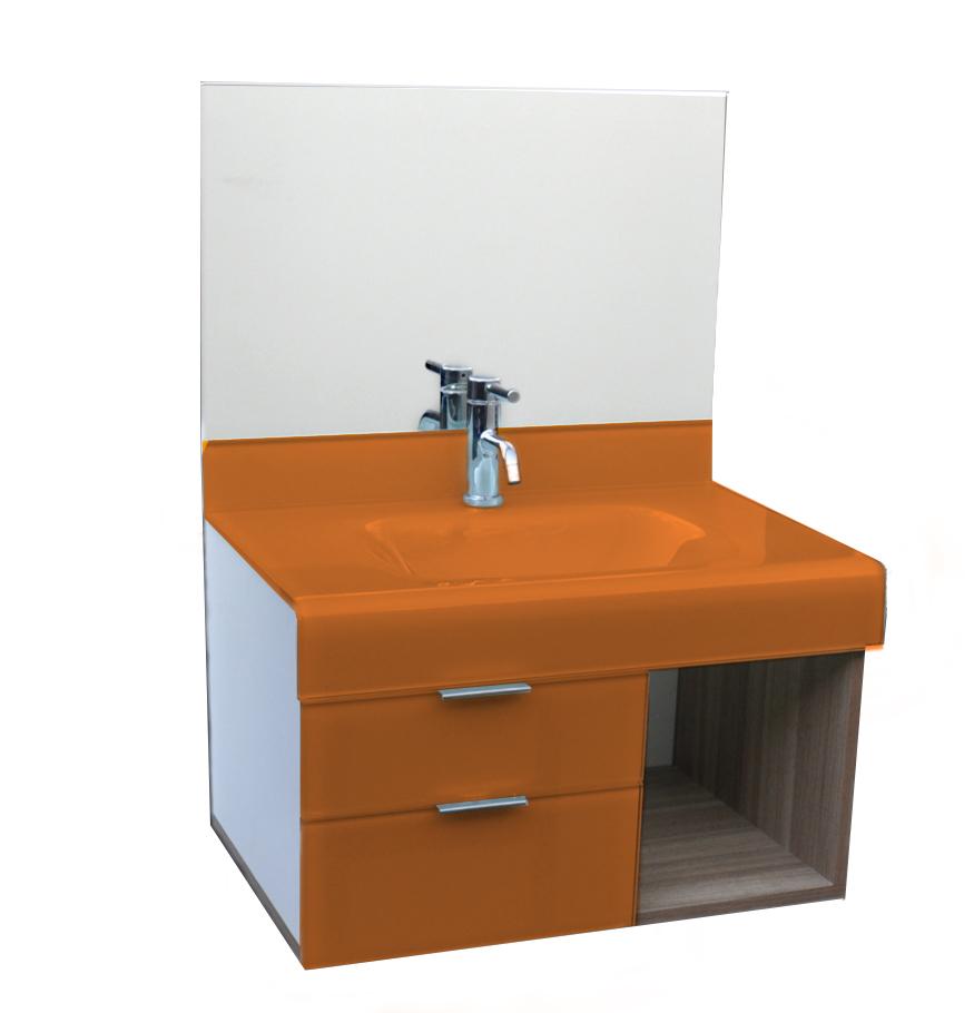 pia p/ banheiro Lavatório de Vidro Stetiun 60 x 46cm Laranja