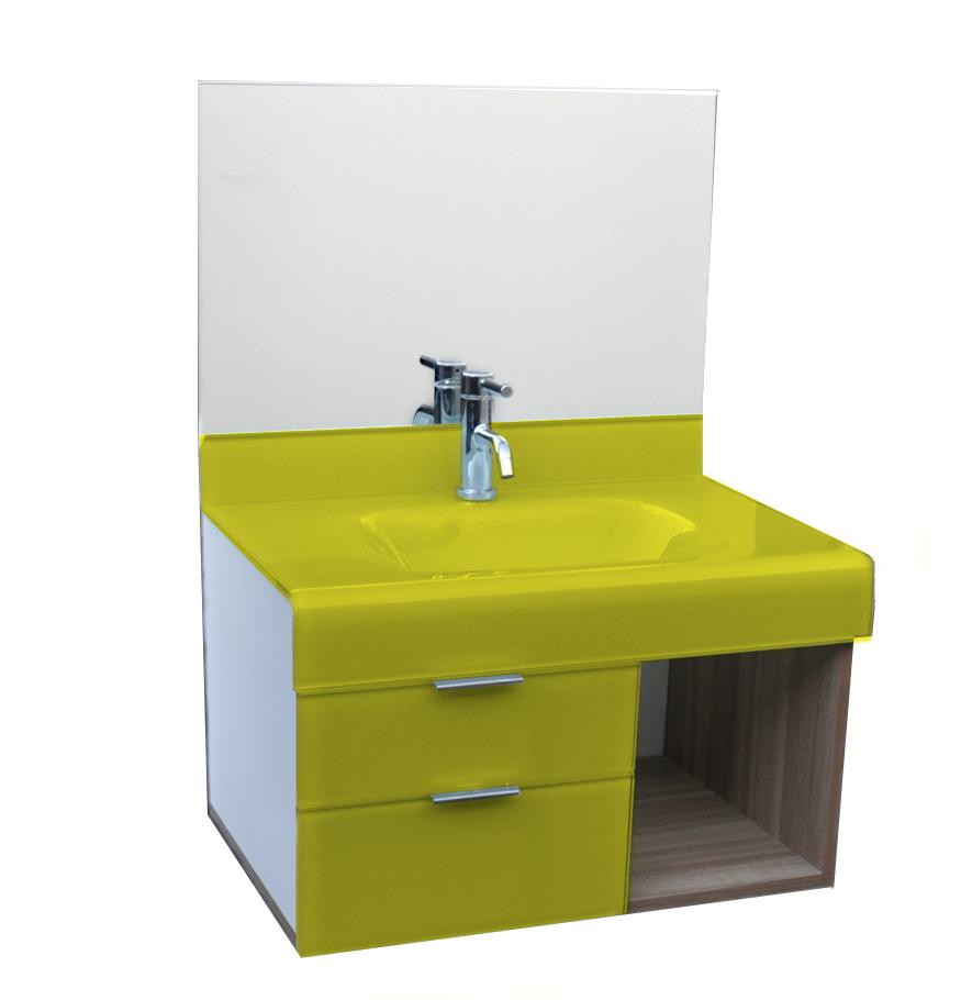 pia p/ banheiro Lavatório em Vidro Stetiun 60 x 46cm Amarelo