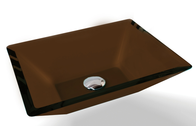 Cuba de Vidro Prisma de apoio 43,5 x 35 cm Chocolate Bergan
