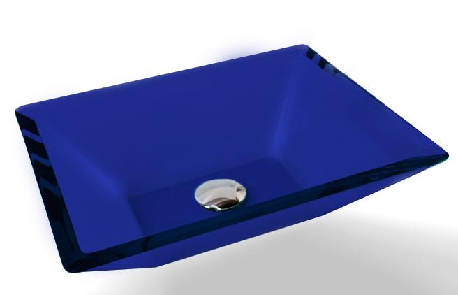 Cuba de Vidro Prisma de apoio 43,5 x 35cm Azul Escuro Bergan