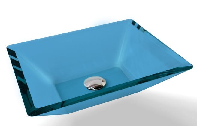 Cuba de Vidro Prisma de apoio 43,5 x 35 cm Azul Claro Bergan
