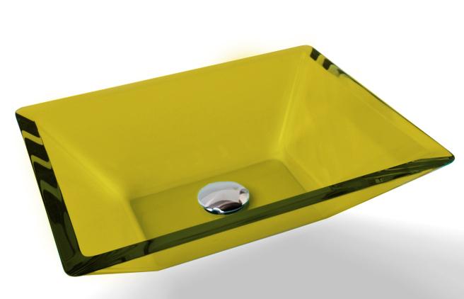 Cuba de Vidro Prisma de apoio 43,5 x 35 cm Amarelo Bergan