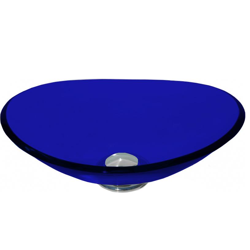 Cuba de Vidro Bergan - Ellisse 38 x 26 cm Azul Escuro