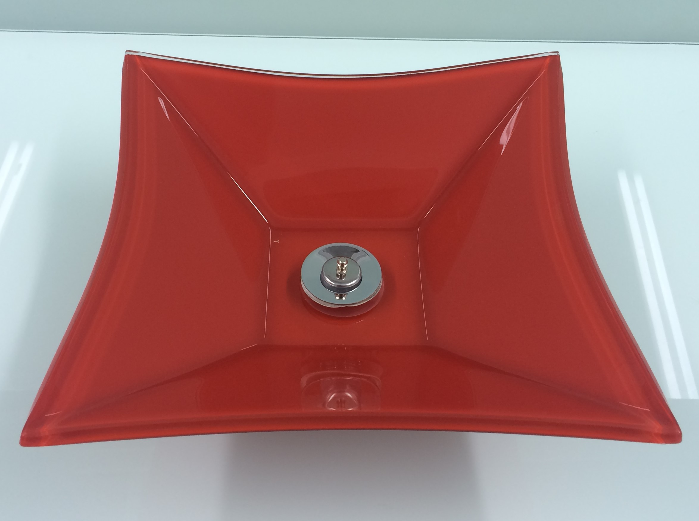 Cuba de Vidro Bergan - Sulle 34 x 34 cm 10 mm Vermelho